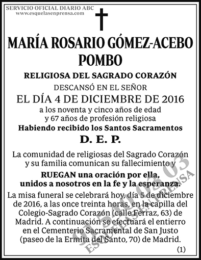 María Rosario Gómez-Acebo Pombo